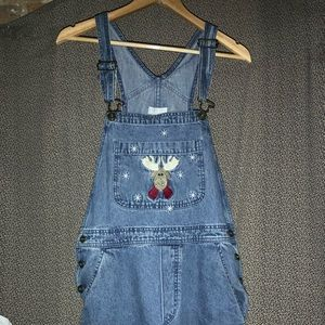Christopher & Banks Reindeer Overall Shorts Size M